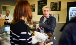 De Piero talks to constituents in Scoffers sandwich bar. Local businessman Paddy Moore is optimistic about Brexit. 'We're pretty confident,' he says.