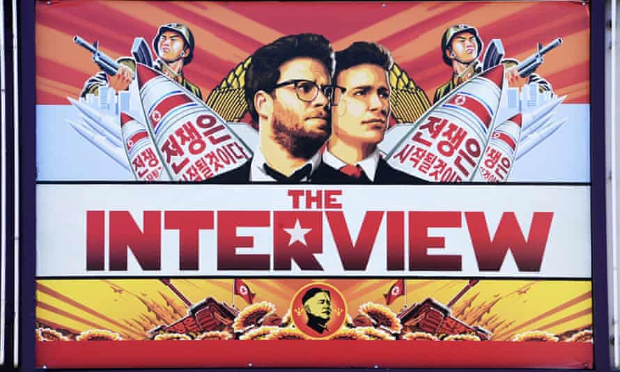"""A poster for """"The Interview"""" displayed on the marquee of the Los Feliz 3 cinema in Los Angeles, California. Sony Pictures was hacked in 2014, apparently as a result of the film."""