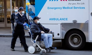 A person arrives at Mount Sinai West hospital in New York, New York, on 26 March.