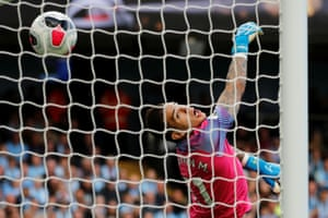 Manchester City's Ederson's watches as Tottenham's Lucas Moura heads home a header, just 19 seconds after he replaced Harry Winks, to equalise in the 2-2 draw at the Etihad Stadium