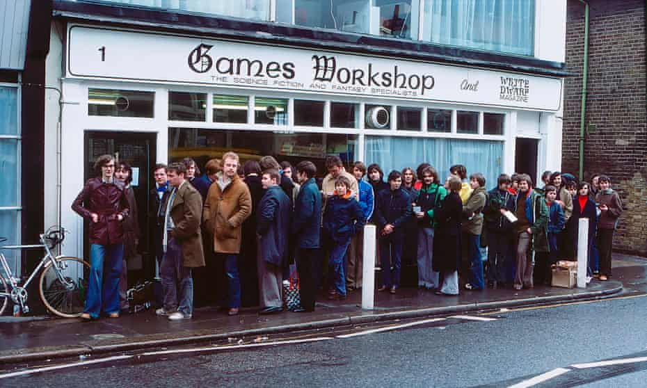 Games Workshop. Opening day queue of first shop in Hammersmith in April 1978