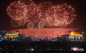 Fireworks are seen during New Year celebrations in Pyongyang