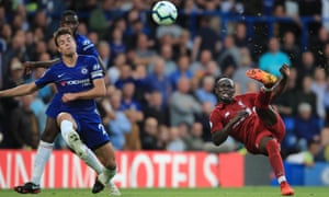 An acrobatic effort from Sadio Mane.