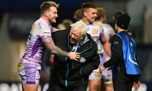 Tony Rowe and Stuart Hogg share a joke after Exeter's victory in the European Champions Cup final at Ashton Gate.