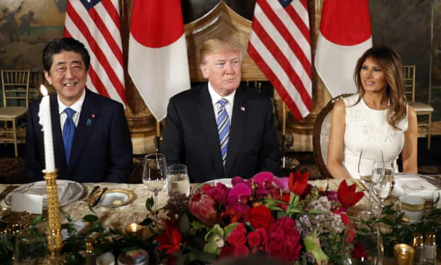 Donald and Melania Trump host Shinzo Abe and his wife, Akie Abe, for dinner at Trump's private Mar-a-Lago club.