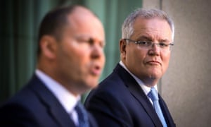 Australian prime minister Scott Morrison (right) and treasurer Josh Frydenberg announce a $189bn economic rescue package on Sunday.