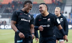 Maro Itoje (left) and Billy Vunipola of Saracens celebrate victory against Glasgow.