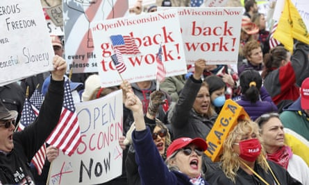 People rally against the stay-at-home order in Madison last month.