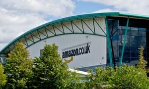 The Amazon distribution warehouse just outside Milton Keynes