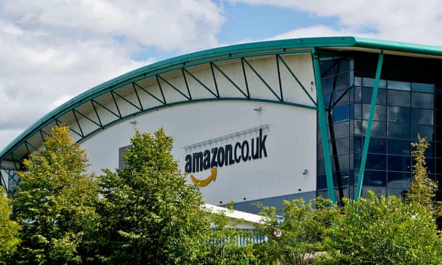 The Amazon distribution warehouse just outside Milton Keynes