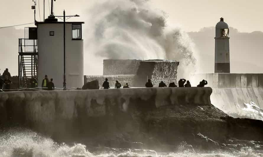 Winds of up to 75mph hit Porthcawl, south Wales, during Storm Jorge in February.