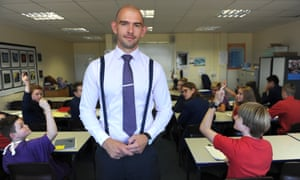Matt Pinkett, head of English, with a class of year 9 students at Kings college, Guildford