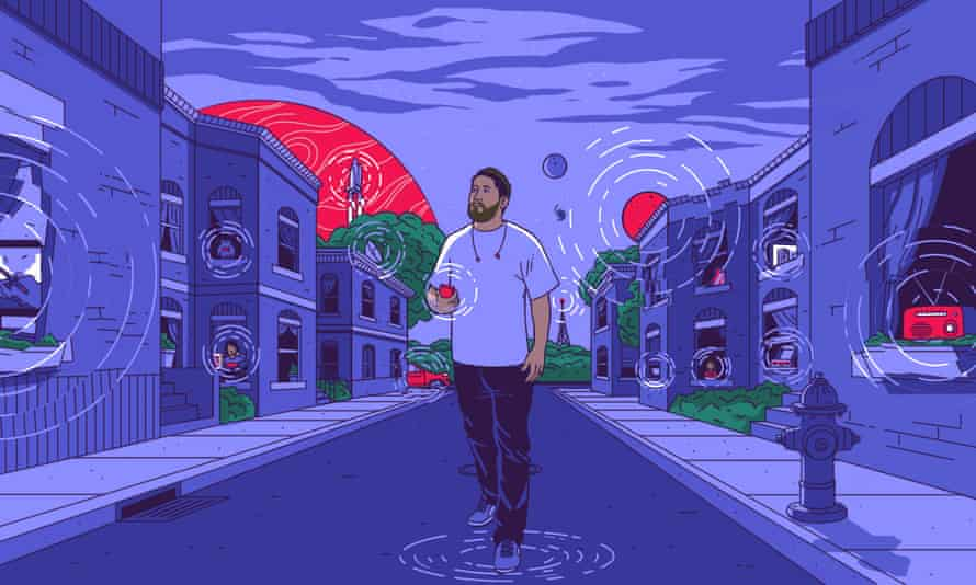 Artwork from the Twenty Thousand Hertz podcast website showing a man walking down the street listening to the sounds around him.