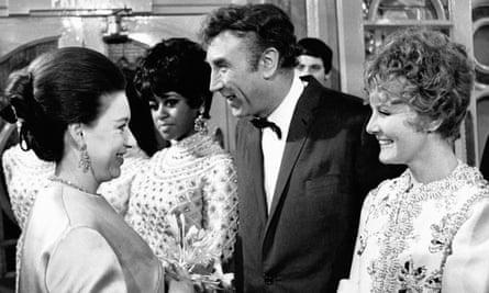 Princess Margaret meets Frankie Howerd and Petula Clark at the London Palladium in November 1968.