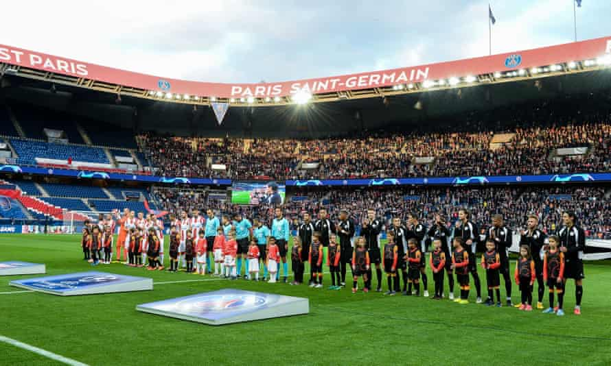 PSG and Red Star Belgrade players line up before the French side's 6-1 win in the Champions League.