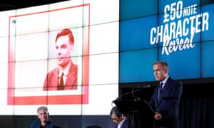 The Bank of England governor, Mark Carney, reveals Alan Turing will feature on the new £50 banknote.