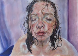 Holly Murphy, 17, who studies art and design at Bearsden Academy, Scotland, says: 'This is an A2 acrylic study exploring the serenity and joy of bathing.'Photo: Holly Murphy