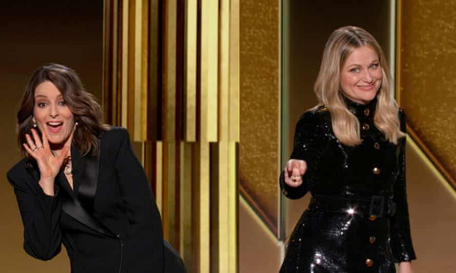 Hosts Tina Fey and Amy Poehler at the 78th Golden Globe awards on 28 February.