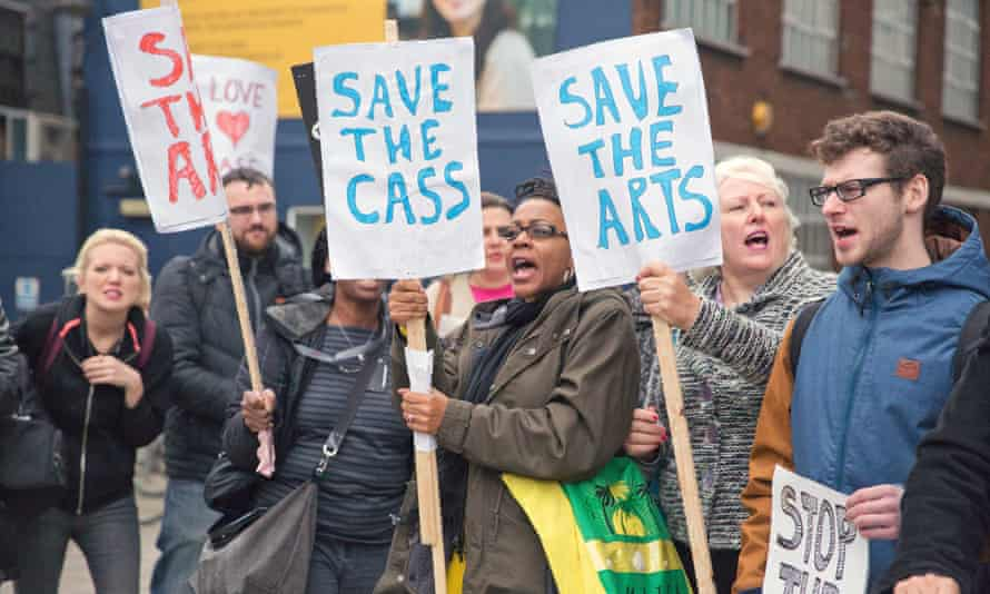Protesters from the London Met Student Assembly Against Austerity protest against cuts outside London Metropolitan University. -