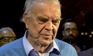 José Maria Marin leaves court in Brooklyn, New York on Tuesday after facing bribery charges.