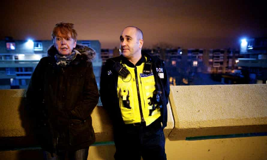 Northumbria PC Chris Dymond with police and crime commissioner Vera Baird on foot around a block of flats during adomestic violence patrol in Sunderland and Washington, Tyne and Wear.