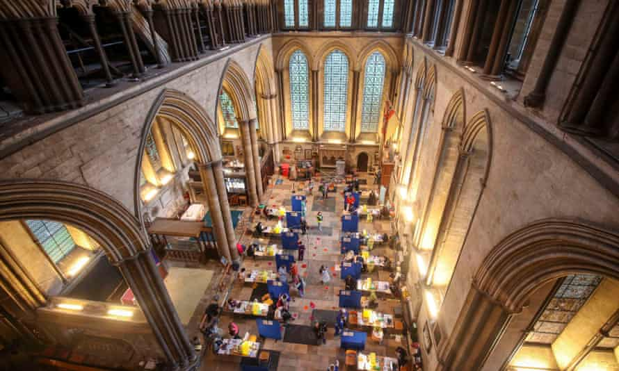 Cubicles are seen inside Salisbury Cathedral, Wiltshire, for people to receive an injection of the Pfizer coronavirus vaccine.