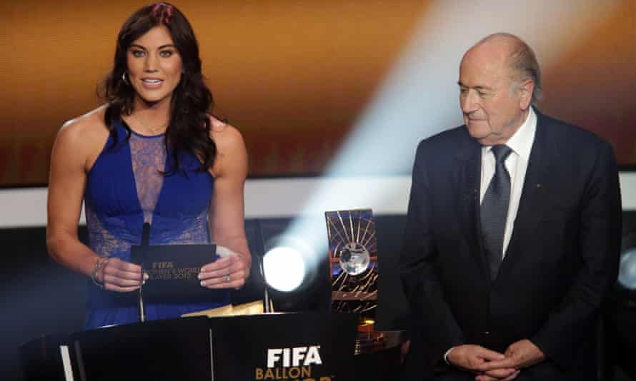 Hope Solo and Sepp Blatter at the Ballon d'Or awards ceremony in 2013, at which the USA goalkeeper claims she had the former Fifa president 'grab my ass'.