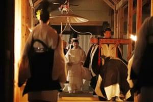Japan's Emperor Naruhito, prepares to perform the Daijosai ceremony in Tokyo