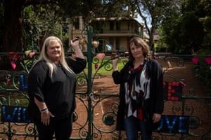 Dharug custodians and knowledge holders Julie Jones (left) and Michelle Locke in front of Willow Grove in Parramatta.