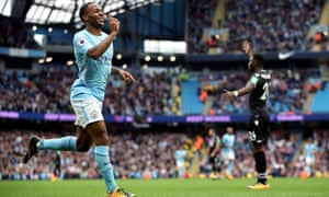 Raheem Sterling celebrates scoring Man City's second goal against Crystal Palace.