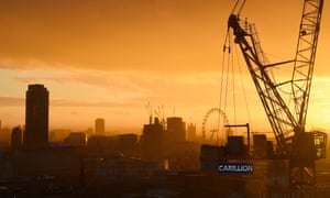 A Carillion crane on a building site in London.