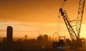 Carillion construction site set against cranes and London skyline