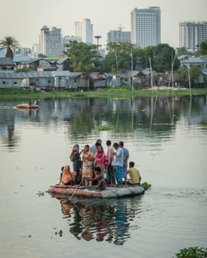 People travel by raft in Bangladesh