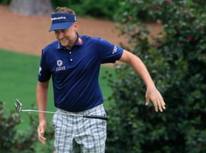 Ian Poulter throws down his putter on the tenth. He bogeys the 11th and then finds the drink on 12 where he makes double bogey, ending his faint hopes.