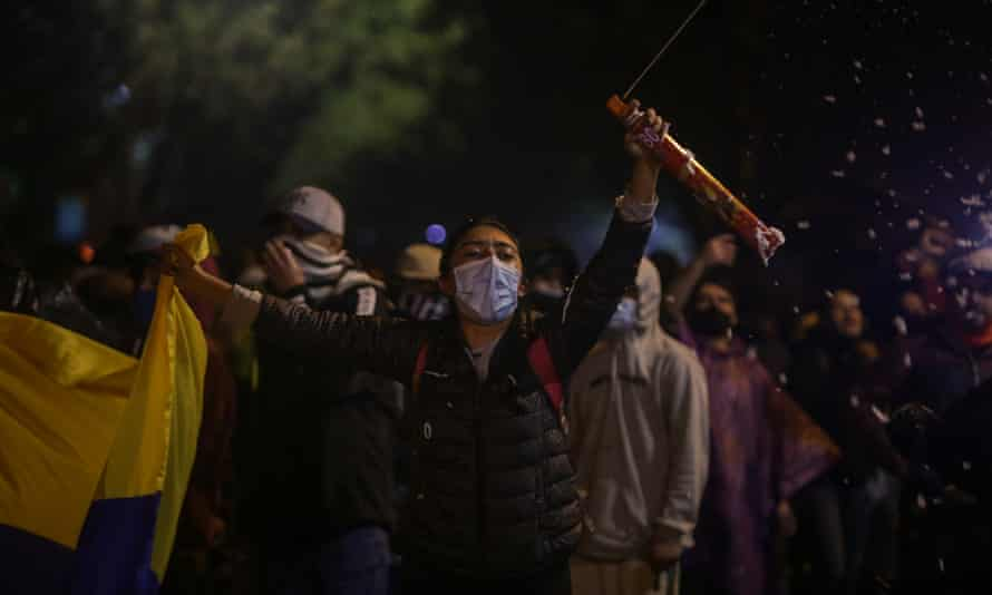 Demonstrators outside Iván Duque's house in Bogotá.