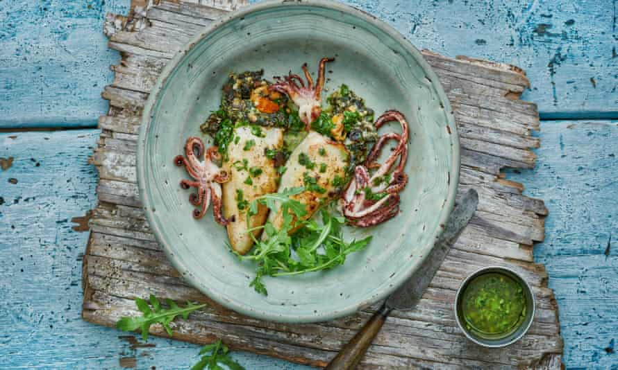 Roast squid stuffed with mussels, lemon and spinach.