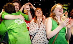Supporters of GroenLinks during react to good news on election night in Amsterdam,.