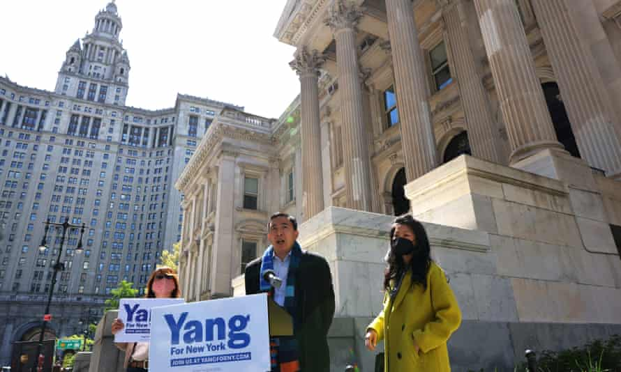 Andrew Yang at a press briefing at Tweed Courthouse in Manhattan earlier this week.