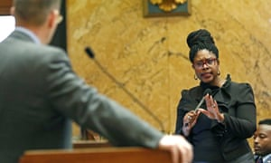 Representative Adrienne Wooten questions Republican Andy Gipson about House Bill 1510 at the Capitol in Jackson, Mississippi, earlier this month.