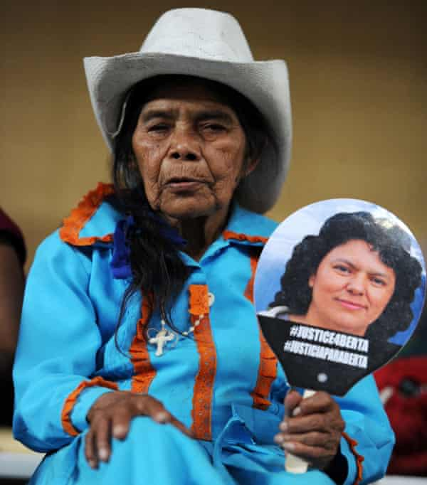 An elderly Lenca indigenous woman participates in Berta Caceres Vive - to protect their land, territories and natural resources.