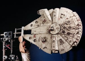 Star Wars (1977) Richard Edlund prepares the finished Millennium Falcon model