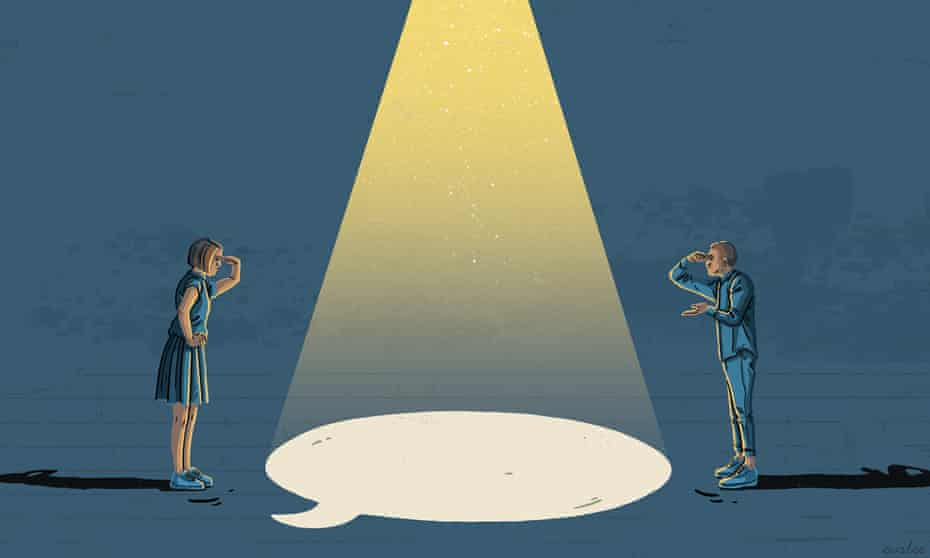 An illustration of two people, a man and a woman, both dressed in blue, peering across a beam of light, shaped as a speech bubble, at one another