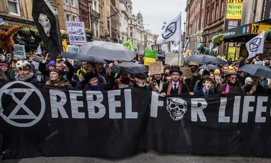 Extinction Rebellion protesters in central London