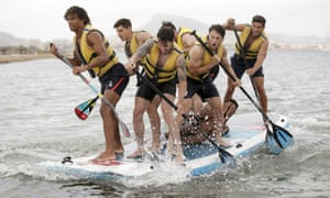 Bournemouth players take to paddle boards during a pre-season team-building exercise in La Manga.