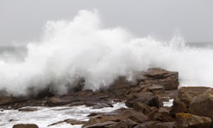 Waves crash into rocks in Bayona, Galicia, Spain, where red warnings have been issued.