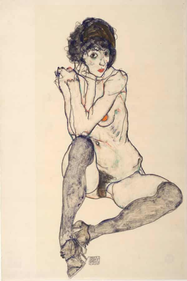Egon Schiele's Seated Female Nude, Elbows Resting on Right Knee, 1914.