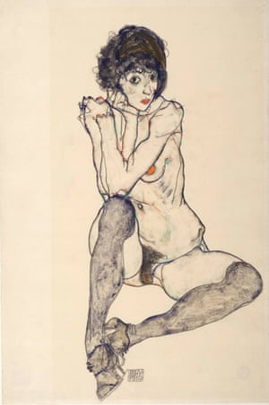 Seated Female Nude, Elbows Resting on Right Knee (Egon Schiele, 1914)