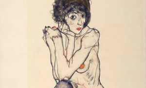 Egon Schiele's Seated Female Nude, Elbows Resting on Right Knee, 1914 (detail; full image below).