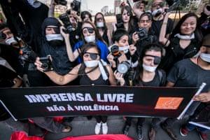 Members of the press demonstrate against violence in São Paulo, Brazil