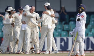 Jack Leach and the England team celebrate taking the final wicket.